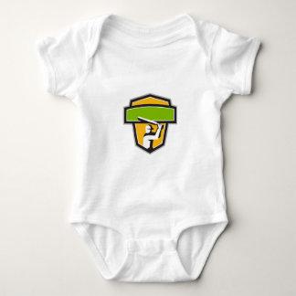 Cricket Player Batting Crest Retro Baby Bodysuit