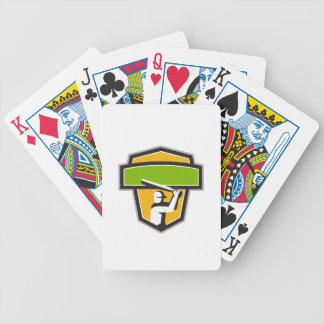 Cricket Player Batting Crest Retro Bicycle Playing Cards