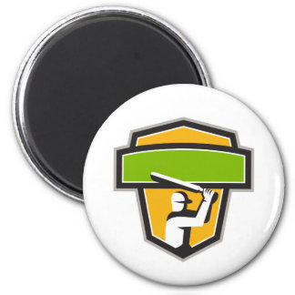Cricket Player Batting Crest Retro Magnet