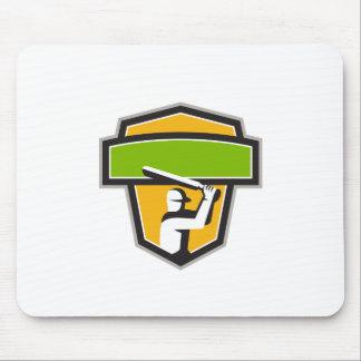Cricket Player Batting Crest Retro Mouse Pad