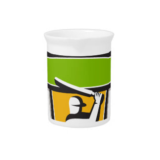 Cricket Player Batting Crest Retro Pitcher