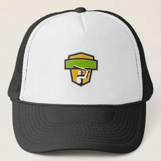Cricket Player Batting Crest Retro Trucker Hat