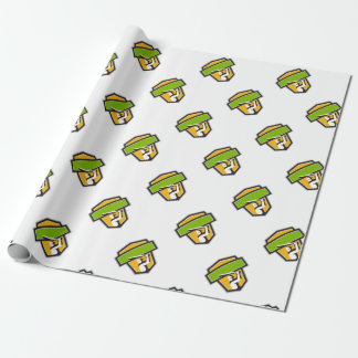 Cricket Player Batting Crest Retro Wrapping Paper