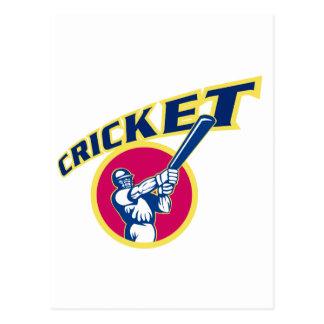 cricket sports batsman batting postcard