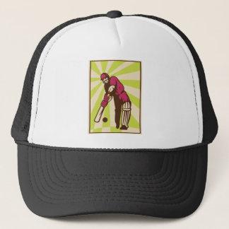 cricket sports batsman batting retro trucker hat