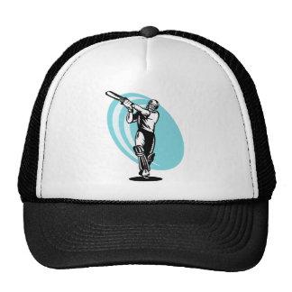 cricket sports batsman batting woodcut mesh hat