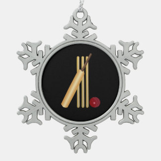 Cricket - Wicket, Bat and Ball on Black Snowflake Pewter Christmas Ornament