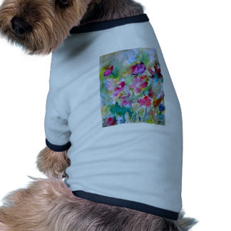 CricketDiane Flower Garden Watercolor Abstract Doggie T-shirt