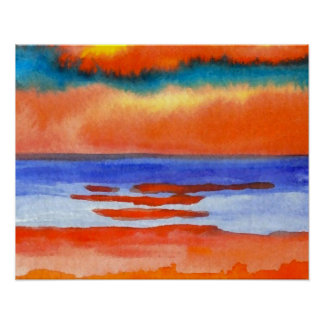 CricketDiane Ocean Poster - Vibrant Sunset 1
