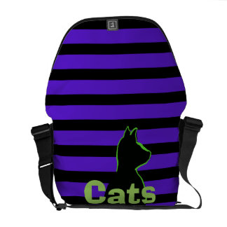 CricketDiane Pop Art Cats Striped Lime Purple Courier Bags