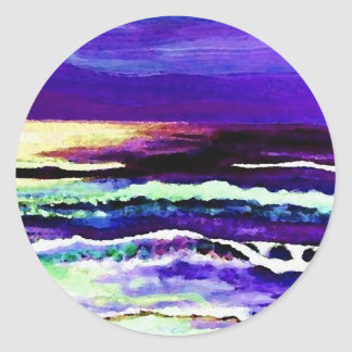 Cricket's Night Ocean Moonlight Ocean Waves Classic Round Sticker