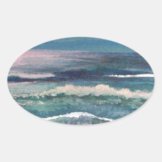 Cricket's Ocean - Beach Seascape Oval Sticker
