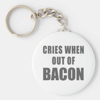 Cries When Out of Bacon Basic Round Button Keychain