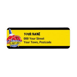 Crime Scene Cupcake yellow Return Address