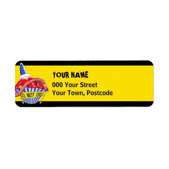 Crime Scene Cupcake yellow Return Address Return Address Label