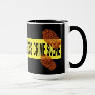 Crime Scene Tape with Bloody Fingerprints Mug