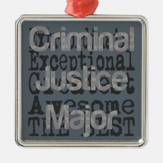 Criminal Justice Major Extraordinaire Silver-Colored Square Ornament