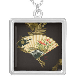 Crimped Oriental Fan with Floral Design Silver Plated Necklace