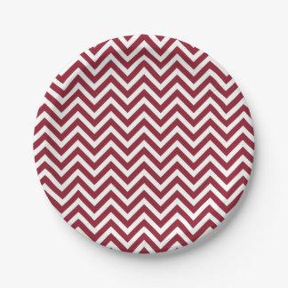 Crimson and White Chevron 7 Inch Paper Plate