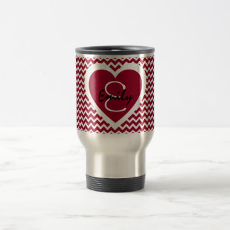 Crimson and White Monogram on Heart Travel Mug