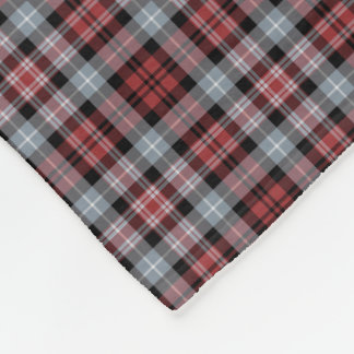 Crimson, Black and Grey Sporty Plaid Fleece Blanket
