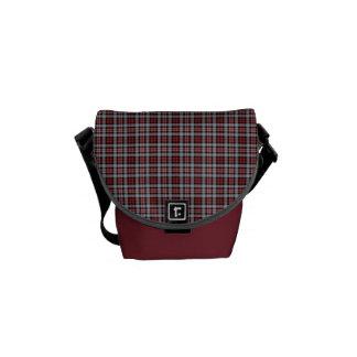 Crimson, Black and Grey Sporty Plaid Messenger Bag