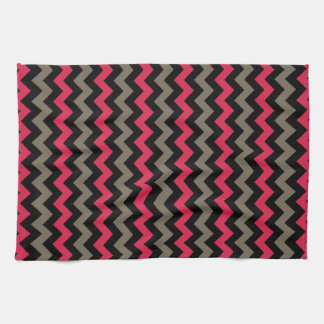 Crimson, Brown & Black Chevron Pattern Kitchen Towel