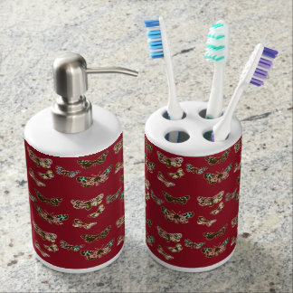 Crimson Butterfly Wave Soap Dispenser And Toothbrush Holder