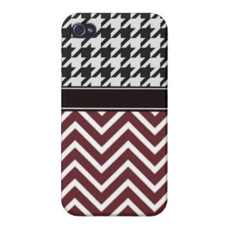 Crimson Chevron and Houndstooth iPhone 4 Case