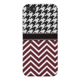 Crimson Chevron and Houndstooth iPhone 5/5S Cases
