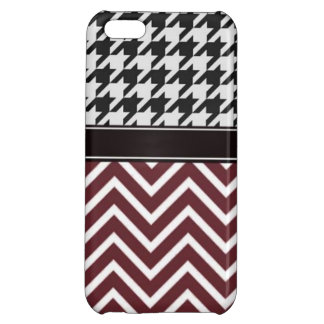 Crimson Chevron and Houndstooth iPhone 5C Cases