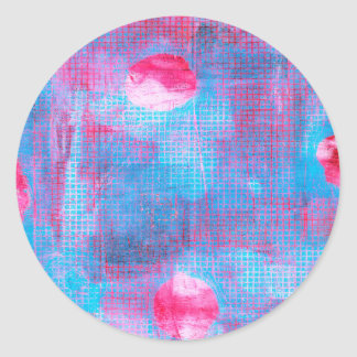 Crimson Clover Abstract Art Circles Grid Pink Blue Classic Round Sticker