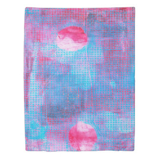 Crimson Clover Abstract Art Circles Grid Pink Blue Duvet Cover