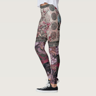 Crimson Crane Silk Blossom Leggings
