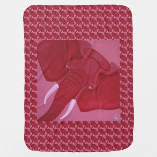 Crimson Elephant Baby Blanket
