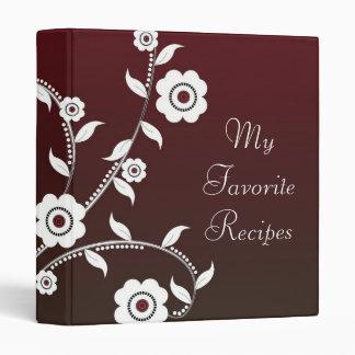 Crimson Floral Vine Recipe Book Vinyl Binders