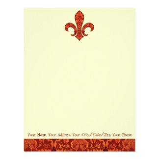 Crimson Garden Fleur de lis Personalized Letterhead