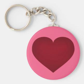Crimson heart basic round button keychain