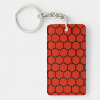 Crimson Hexagon 3 Double-Sided Rectangular Acrylic Keychain