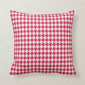 Crimson Houndstooth Throw Pillow