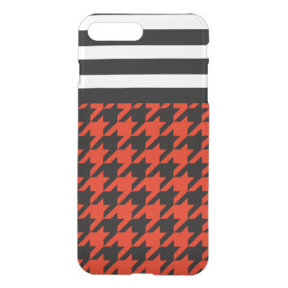 Crimson Houndstooth w/ Stripes 2 iPhone 7 Plus Case