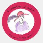 Crimson Ladies Have all the Fun Classic Round Sticker