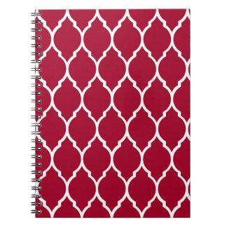 Crimson Modern Quatrefoil Pattern Note Book