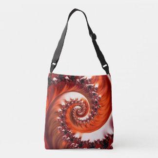 Crimson Passion Fractal Spiral, Heart of the Rose Crossbody Bag
