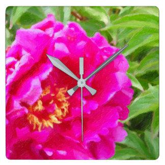 crimson peony art square wall clock