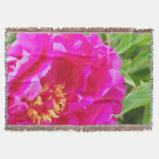 crimson peony art throw blanket