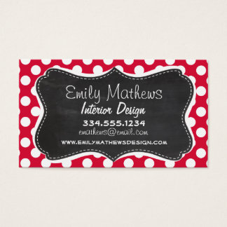 Crimson Polka Dots; Chalkboard look Business Card