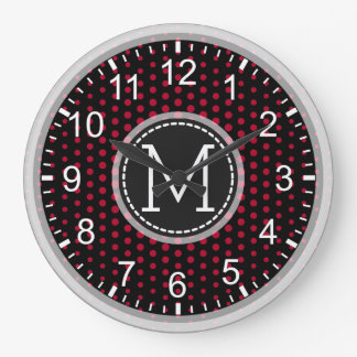 Crimson Polka Dots Modern Monogram Large Clock