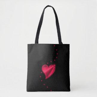 Crimson Rainbow Heart with Stars on black Tote Bag