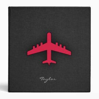 Crimson Red Airplane 3 Ring Binder